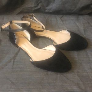 SHOES OF PREY Black D'Orsay Ankle Strap Flats WIDE